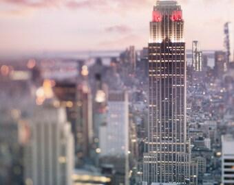 New York City Photography - Manhattan Skyline at Dusk, Empire State Building, Urban Home Decor, Wall Decor
