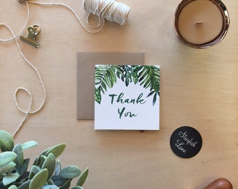 Watercolour Tropical Thank You Card Pack/ 10 cards 99mmx99mm when folded & 10 Envelopes