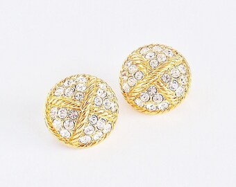 SWAROVSKI Clear Crystal Button Earrings