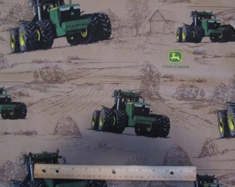 Brown John Deere Tractor/Farm Scene  Cotton Fabric by the Yard