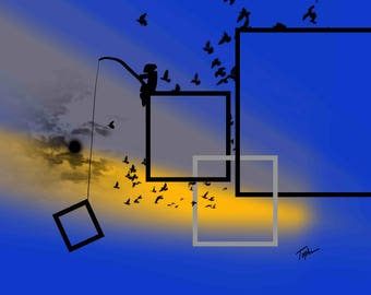 """Limited Edition Print.  """" Toys In My Attic #19 """" Digital painting, Wall art, Painting. Art print"""