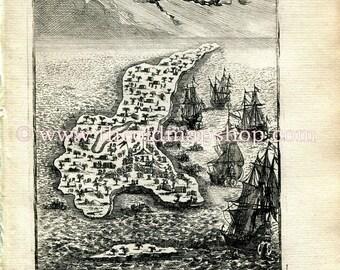 """1683 Manesson Mallet """"I. de Guanahani ou de St. Salvador"""" Guanahani Island, The Bahamas, Antique Map Print Engraving"""