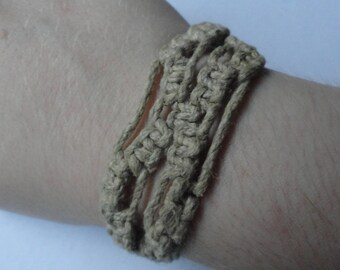 Vintage Light Brown Woven Bracelet / Orange Bead Closure
