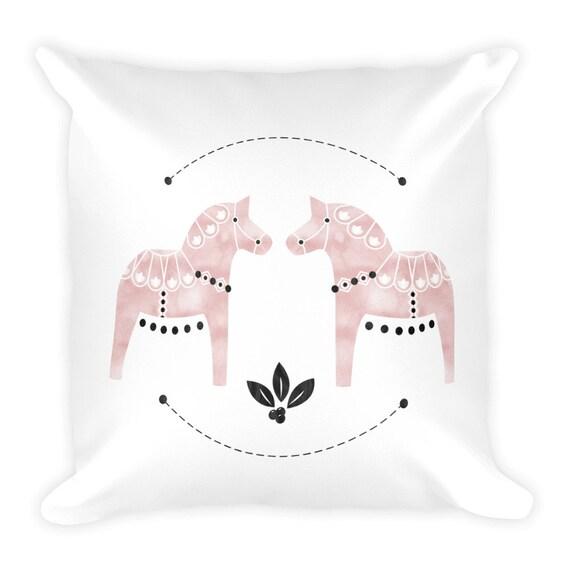 Dala Horse Watercolor Square Pillow