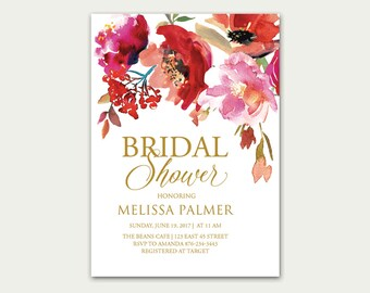 Red Bridal Shower Invitation printable, Watercolor Bridal Shower Invite, Summer Chic Boho Bridal Shower Invite, Floral Bridal Shower Invite
