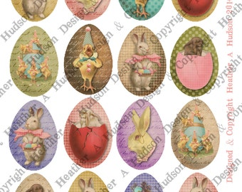 48 Victorian Vintage Medium Easter Eggs Shabby Chic Bunny Chics Digital Collage sheet Printable
