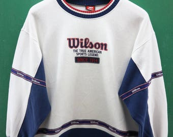 Vintage Wilson Sweatshirt Embroidery Big Spell Out The True American Sports Legend Sportswear Streetwear Sweater Size M