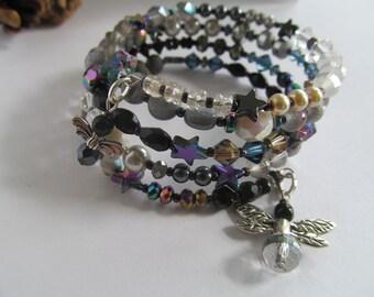 Bohemian Wrap Braclet, Shooting Stars, Memory Wire Bracelet, Firefly, Celestial Jewelry, Moonlilydesigns, Boho Bracelet, Beaded Bracelet