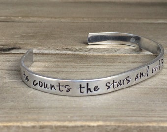 Psalm 147:4 / He Counts the Stars and Calls Them By Name / Scripture Bracelet / Christian Gift / Gift for Her / Gift for Wife /Gift Under 25