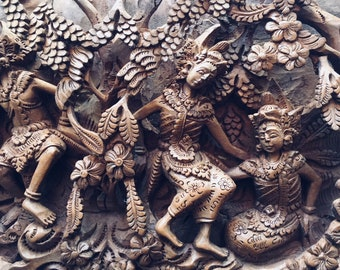 Balinese wooden carving Art vintage Relief