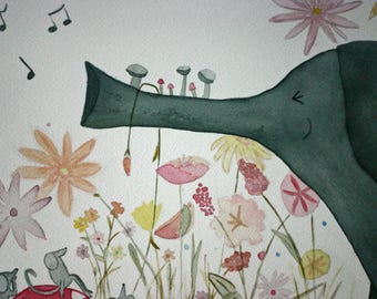 Children's art, original watercolor, elephant playing trumpet, whimsical art, make your own music, matted, mice, flowers, nursery art
