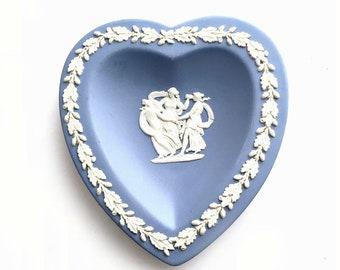 Vintage Wedgwood Heart, Blue Wedgwood Heart, Three Graces Blue Jasperware Heart Ring Dish, Greek Mythology Wedgwood Heart Trinket Dish