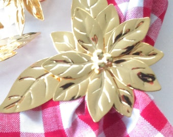 Set of 4 Vintage Gold Poinsettia Napkin Rings /Retro / Dining & Serving / Holiday Decor / Vintage Home