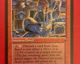 "NEW LISTING! MTG - One Magic the Gathering ""Dwarven Armorer"" Card - Vintage/Antique"