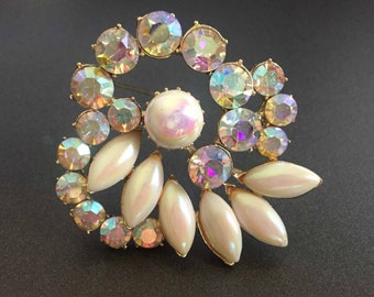 Vintage Rhinestone Brooch with Opalescent Glass Stones and Aurora Borealis Rhinestone on Gold Tone, Vintage Jewelry