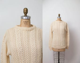 1970s Irish Fisherman's Cream Wool Sweater / 70s Cable Knit Pullover