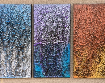 Abstract Art - Chaos In Harmony Triptych Original Painting By Artist Rafi Perez Mixed Medium on Canvas 30X20