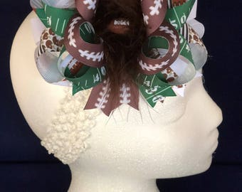 Football Green Brown White Over-The-Top Hair Bow Hairbow