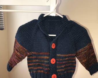 Hand knit baby boy sweater