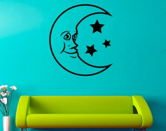 Moon Wall Decal Moon Vinyl Sticker Bedroom Decorations Home Art Decor (14mn)