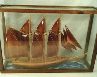 Large Wooden Schooner Ship Model With Rigging Mounted Glass Case Handmade Painted Nautical Marine Wood Boat Display Mancave Den Office Decor