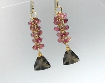 Smoky Quartz Earrings Pink Tourmaline Earrings Dangle Earrings Statement Earrings