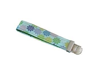 Blue Key Fob, Fabric Lanyard, Handmade Keychain, Key Wristlet, Wrist Lanyard, Key Lanyard, Fabric Key Holder, Floral Keyfob