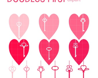 Keys To My Heart Clip Art for Scrapbooking Card Making Cupcake Toppers Paper Crafts