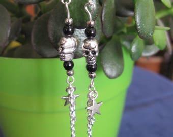 silver metal skull earrings