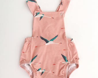 Baby Romper / Toddler Romper / Baby Playsuit / Toddler Playsuit - // Flamingos - MADE TO ORDER