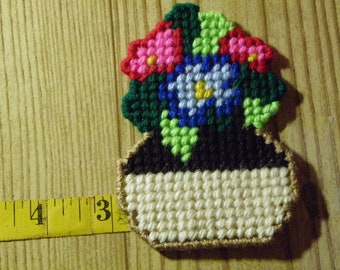 Set of 3 Plastic Canvas Flower Magnets  #67