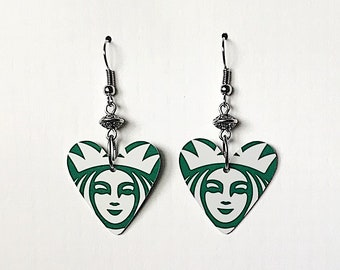 Upcycled Gift Card Earrings - Starbucks Hearts