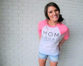 Mom Squad Shirt // Mom Squad Bright Pink & White Baseball Tee // Mom Shirt // Mom Life Tee // Mom Tee // Funny Mom Gifts