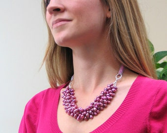 Pink Pearl Statement Bib, Freshwater Pearl Multi Strand Necklace, Deluxe Fashion Pearls, Wedding Accessory, Prom, Handmade Art Jewelry