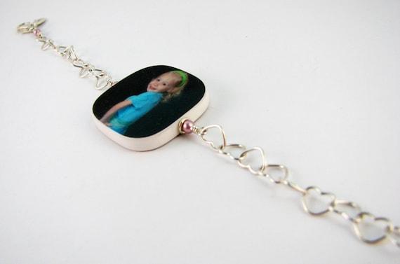 I Heart You Charm Bracelet with a Medium, Two-sided Photo Charm - P2RB5