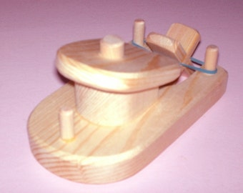 Wooden Small Toy Boat, Natural Unfinished DIY Wood Paddle Boat, Rubber Band Tug Boat, Kids Birthday Gift, Jacobs Wooden Toys