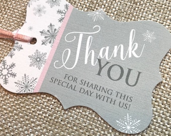Baby Its Cold Outside Shower, Snowflake Baby Shower, Winter Baby Shower Favor Tag, Snowflake Thank You Favor Tag, Pink & Gray shower