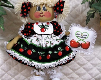 "Primitive Raggedy 13"" ** ""LiFe is JuSt a BoWl oF ChErriEs""! RaGGeDy AnniE ** CuTe!"