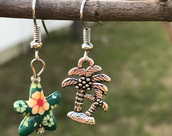 Mismatched Tropical Starfish Palm Tree Earrings. Beach and Ocean Inspired Mismatched Earrings, Starfish and Palm Tree Earrings. Cruise Wear