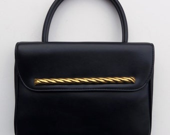 Vintage 60s Purse Handbag in Black Vinyl with Goldtone Trim