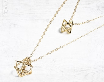 Magen David necklace, merkava necklace, star of David necklace, jewish necklace, dainty necklace, statement necklace, gift for her.