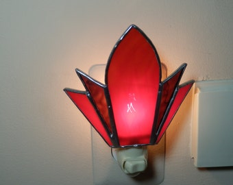 Stained Glass Night Light- (Red and Purple)