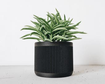Geometric Pot Planter Printed In Black Ebony Wood / Minimalist Hygge  Scandinavian Design For Cactus And Succulents JAPAN Gift For Her Him