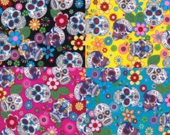 Mexican Sugar Skulls Print Cotton Craft Fabric