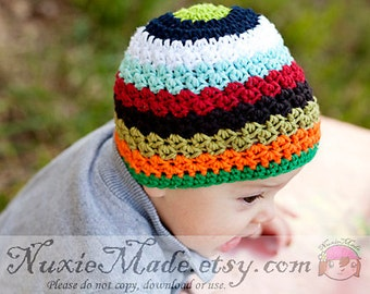 Colorful Winter Hat for Baby Boy, Stripes Crochet Boy Hat, Rainbow Stripes Hat, Winter Boy Crochet Hat, 3-6 Months Boy Hat, Fall Boy Hat