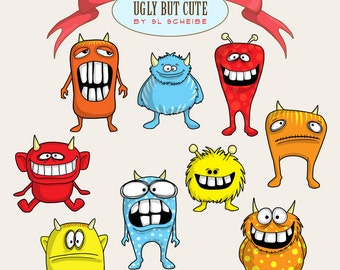 Clipart monsters silly monsters red blue and yellow, funny creatures with big teeth - clip art commercial use SLS lines