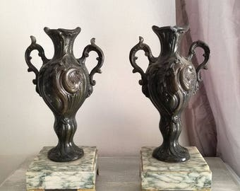 fireplace decor vases in regule on marble