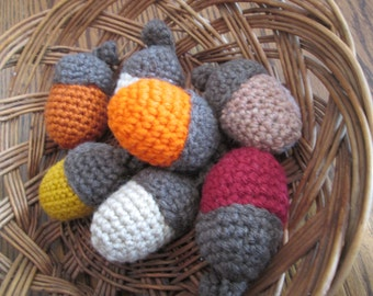 Crocheted Acorns - set of 5