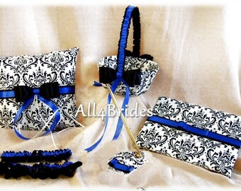 Madison Damask Wedding Flower Girl Basket, Ring Pillow, Guest Book, Garters, Royal Blue 7pc ensemble, Wedding Accessories