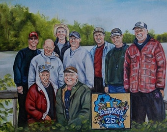 Fishermen - Custom portrait painting,  group - family  portrait painting on canvas